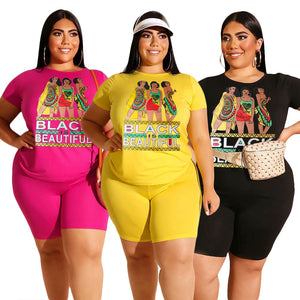 Outfits for Women Plus Size 2XL 3XL 4XL Carton T Shirt and Short Matching Sets Summer 2 Piece Set 2020 Conjunto Deportivo Mujer - Vipbeautycompany
