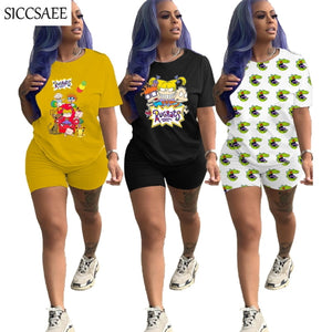 Cartoon Printing Two Piece Set 2020 Summer Style Sexy Casual Outfits Clothing Sweat Suit Short Sets For Women Ensemble Femme - Vipbeautycompany