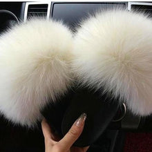 Load image into Gallery viewer, VIP free shipping 2020  Real Fox Fur Slides Wholesale Furry Sliders Women Ladies Fur Slippers hand mada amazing Quality - Vipbeautycompany