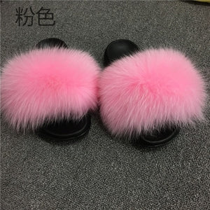 VIP free shipping 2020  Real Fox Fur Slides Wholesale Furry Sliders Women Ladies Fur Slippers hand mada amazing Quality - Vipbeautycompany