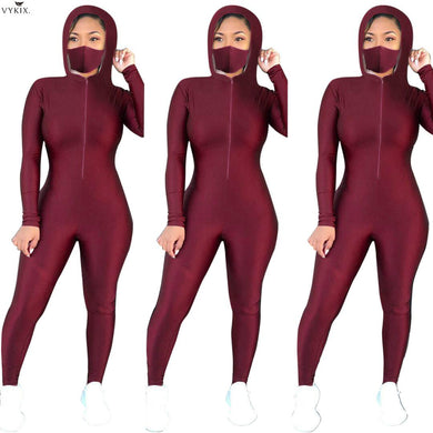 2020 Summer Women Jumpsuits Hooded Full Sleeve Including Masks Rompers Sexy Night Clubwear Party Elegant One Piece Women Outfits - Vipbeautycompany