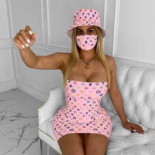 Load image into Gallery viewer, LV Printed Strapless Bodycon Mini Dress with Hat/Mask 3 Piece Set - Vipbeautycompany