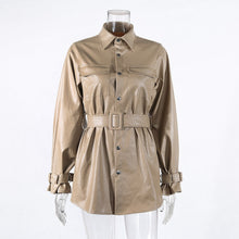 Load image into Gallery viewer, Vip2020 Khaki Leather Jacket Dress Medium Length Slim Faux PU Leather Coats Elegant Button Tie Belt Waist Pockets Outfits - Vipbeautycompany