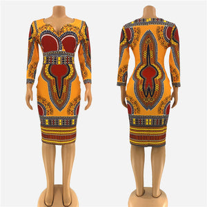 African Dress Fashion V-neck - Vipbeautycompany
