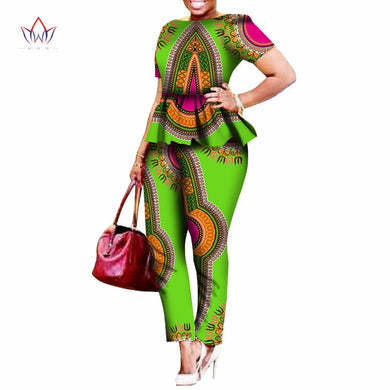 2020 Legging Sets For Women Custom Brand Two Pieces Sets African Bazin Riche Clothes For Women Two Piece Pants Set African WY520