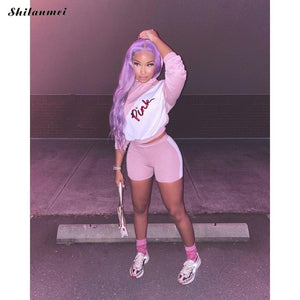VIP Pink Letter Print Fashion 2 Piece Tracksuit Set Women Long Sleeve - Vipbeautycompany