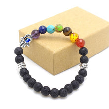 Load image into Gallery viewer, Mens Womens 7 Chakra Mixed Stone Healing Chakra Pray Mala Bracelet Lava Rock DIY Beads Jewelry Balancing Bracelets - Vipbeautycompany