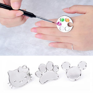1pc Mini Nail Art Metal Finger Ring Palette Mixing Acrylic UV Gel Polish Painting Drawing Color Paint Dish Manicure Tools - Vipbeautycompany