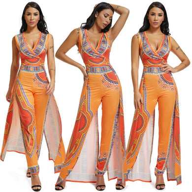 African Print Women Jumpsuit sexy v-Neck Sleeveless Romper bodycon pencil Pants long legging Ladies party macacao outfits