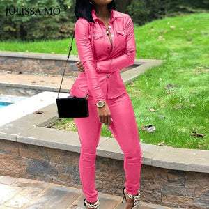 VIP2020 2 Piece Set PU Leather Tracksuit Women Overalls Long Sleeve T-Shirt+High Waist Pants Casual Button Jumpsuit Outfits - Vipbeautycompany