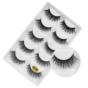 New 3D 5 Pairs Mink Eyelashes extension make up natural Long false eyelashes fake eye Lashes mink Makeup wholesale Lashes - Vipbeautycompany