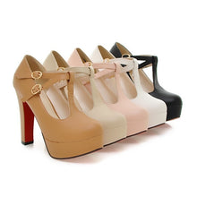 Load image into Gallery viewer, Women Platform Pumps Super High Heels Shoes Woman Leather Red Bottom Shoes Round Toed T-belt Big Size 42 43 Women Wedding Shoes - Vipbeautycompany