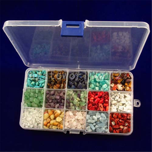 (Plastic Box is Included)Natural Chips Irregular 7~8mm Assorted Box Set Loose Beads  Crystal Energy Stone Healing Power 15 Color - Vipbeautycompany