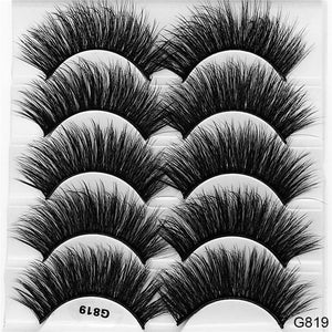 SEXYSHEEP 5 Pairs 3D Mink Hair False Eyelashes Thick Curled Full Strip Lashes Eyelash Extension Fashion Women Eyes Makeup - Vipbeautycompany