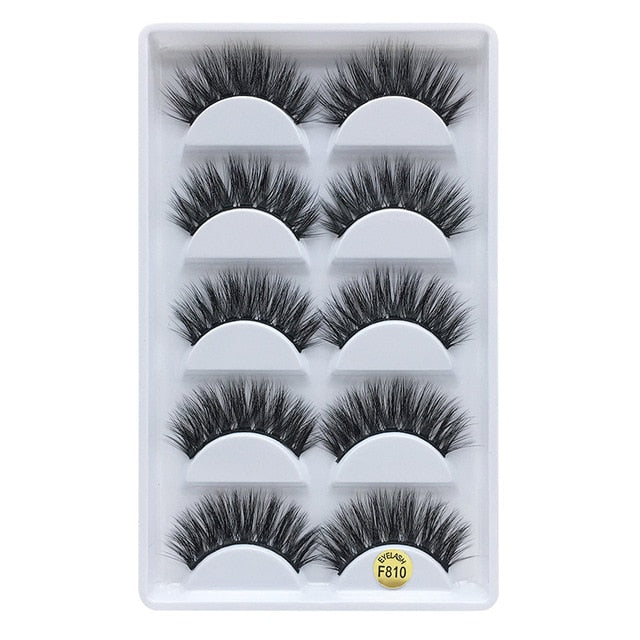 MB 5 pairs Mink Eyelashes 3D False lashes Thick Crisscross Makeup Eyelash Extension Natural Volume Soft Fake Eye Lashes - Vipbeautycompany
