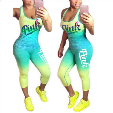 Summer Casual Sexy 2 Piece Outfit Women PINK Letter Print Tanks Top And Fit Length Pants Gradient Fitness Suits Plus Size XXXL