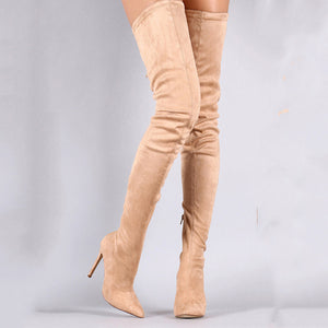 Women's Faux Fur Spring &  Fall Sweet Boots Stiletto Heel Pointed Toe Thigh-high Boots Almond / Royal Blue / Burgundy / Party & Evening - Vipbeautycompany