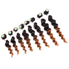 Load image into Gallery viewer, Laflare Weft Hair weave Human Hair Extensions Curly Human Hair Ombre Hair Weaves / Hair Bulk Bundle Hair Human Hair Extensions Brazilian Hair Multi-color 8pcs Woven New Arrival Hot Sale Women's Black - Vipbeautycompany