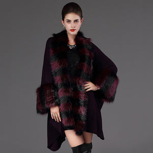 Women's Daily / Going out Vintage Winter Long Vest, Solid Colored Hooded Long Sleeve Fox Fur Fur Trim Black / Purple One-Size - Vipbeautycompany