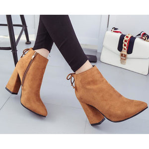 Women's Boots Chunky Heel Nubuck leather Booties / Ankle Boots Comfort / Fashion Boots Fall / Winter Black / Gray / Camel - Vipbeautycompany