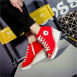 Women's Canvas Spring & Summer Sneakers Wedge Heel Black / Red / Pink - Vipbeautycompany