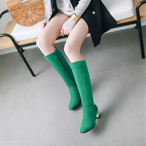 Women's Boots Fashion Boots Chunky Heel Round Toe Suede Knee High Boots Minimalism Fall & Winter Black / Purple / Green / Wedding / Party & Evening / EU39 - Vipbeautycompany