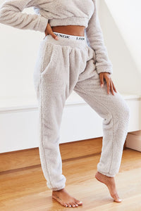 Frosted Grey Teddy Joggers
