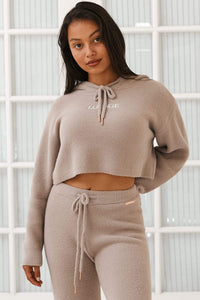 Taupe So Soft Knitted Hoodie