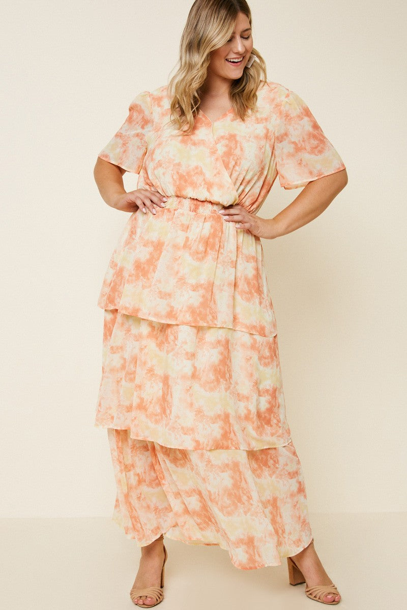 Plus Tie Dye Ruffle Dress