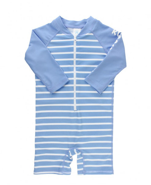RuggedButts Cornflower Stripe Rash Guard Bodysuit