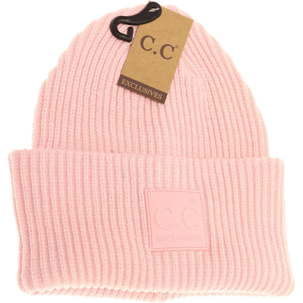 Solid Ribbed Rubber Patch Beanie