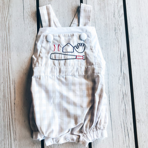 True Embroidered Baseball Girls Romper