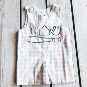 True Embroidered Baseball Boy Romper