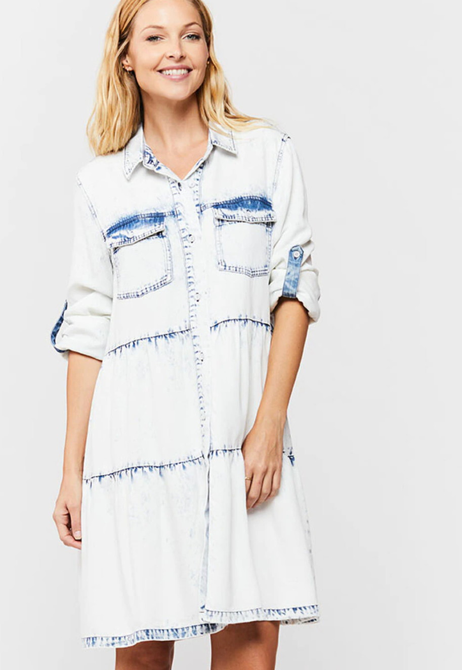 Bree Acid Wash Shirt Dress