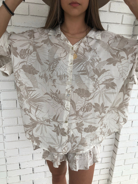 Hawaiian Print Shirt Coverup