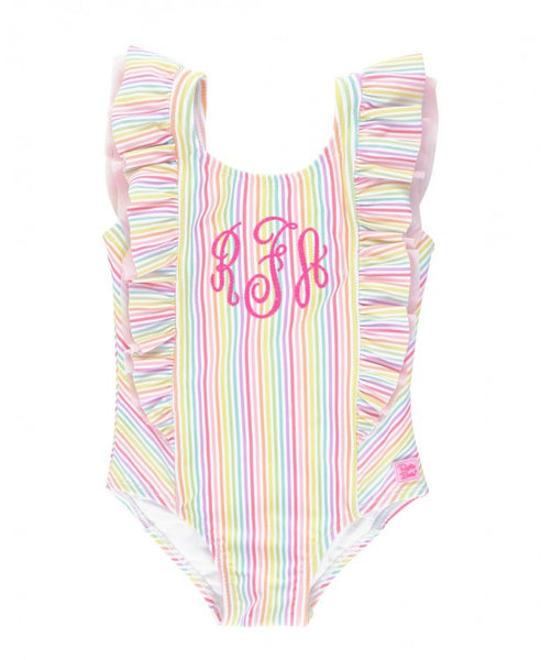 Ruffle Butts Rainbow Stripe One Piece Swim