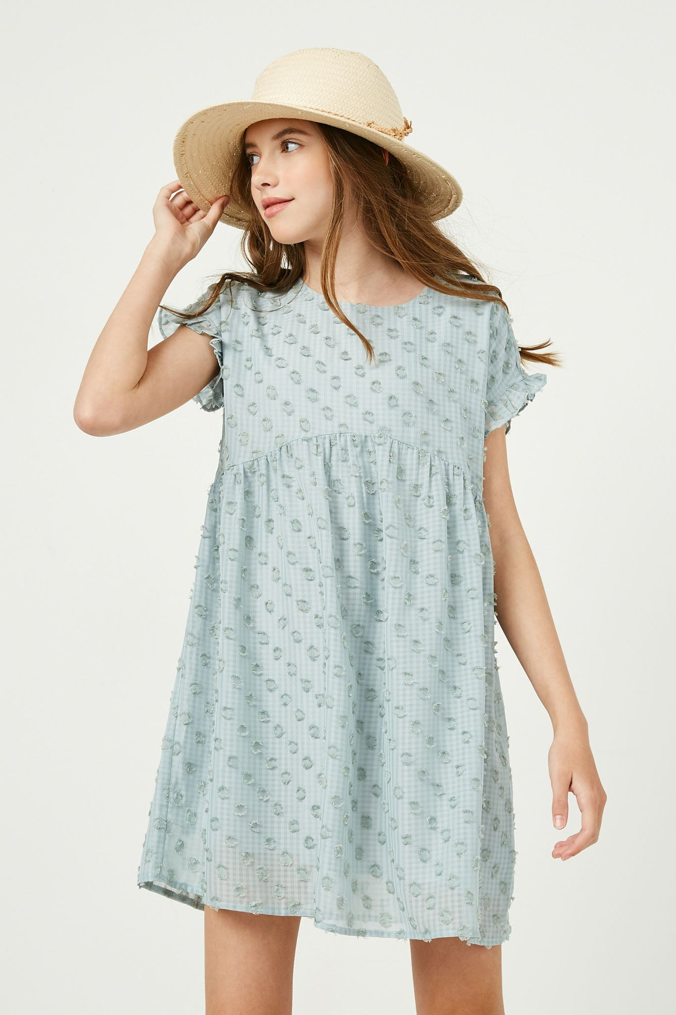 Tween Blue Swiss Dot Dress