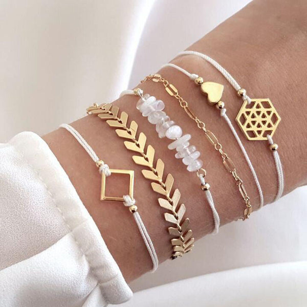 6 Pcs/Set Simple Link Chain Charm Bracelet