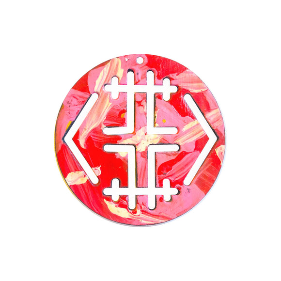 Red & Pink Paint Stroke Pendant