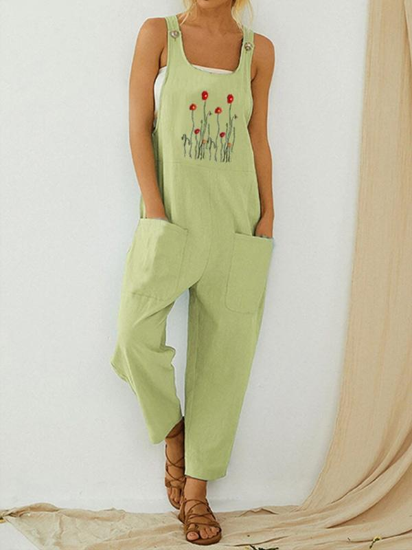 Women's fashion prints are comfortable and comfortable with cotton and linen jumpsuits