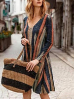 Load image into Gallery viewer, Ladies fashion striped long sleeve dress