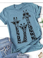 Load image into Gallery viewer, Ladies Round Collar Sunglasses Giraffe Printed Short Sleeve T-shirt