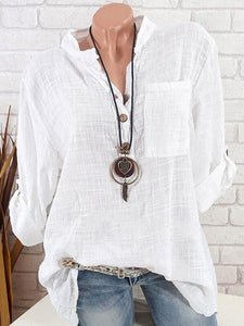 Ladies cotton and linen V-neck pocket shirt