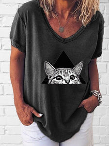 Women's cat print V-neck short sleeve T-shirt