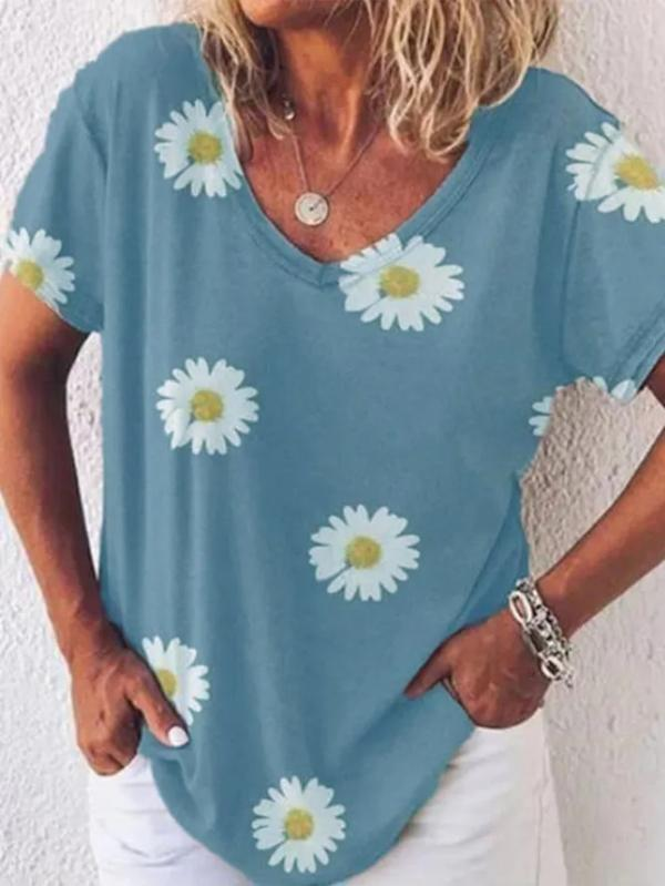 Small Daisy Loose Casual Oversized T-shirt