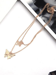 Women's Butterfly Double Necklace