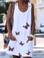 Load image into Gallery viewer, Lady Butterfly Print Sleeveless Dress