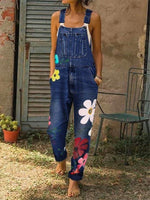 Load image into Gallery viewer, Women's Denim Floral Print Jumpsuit