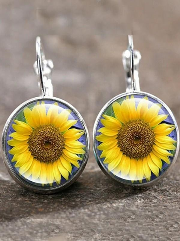 Sunflower time gemstone earrings