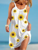 Load image into Gallery viewer, Women's Sunflower Print Beach Dress